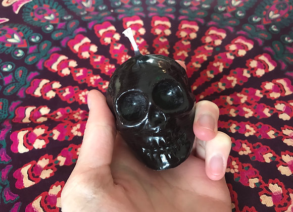 Black Beeswax Skull Candle