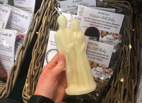 White Beeswax Wedding Couple Candle