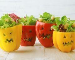 Salade d'halloween au potiron en affreux poivrons