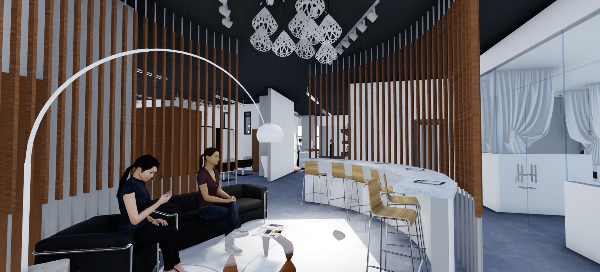 Hair Salon & Dining 3D Modeling