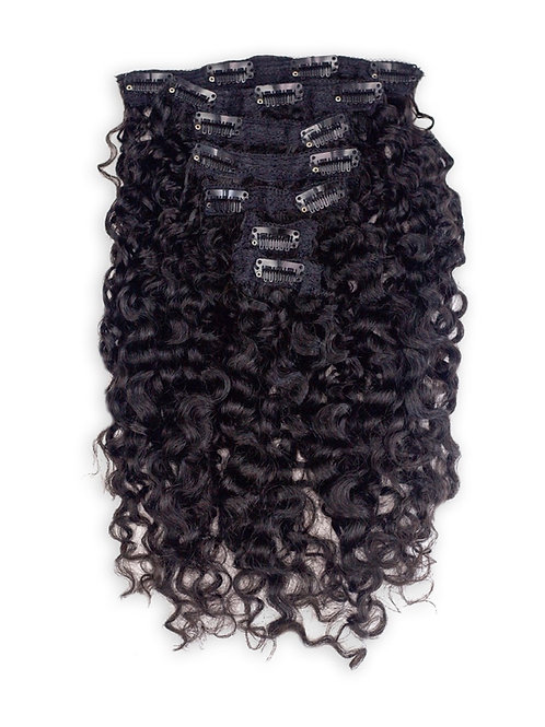 7 Piece exotic curly clip ins.