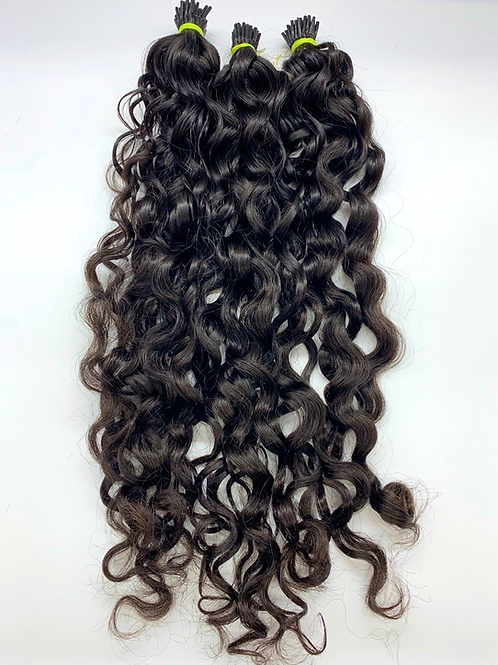 I-tip curly indian hair