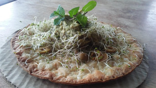 Raw Vegan Cauliflower Sprout Pizze