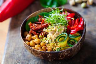 Vegan Buddha bowl with chickpeas, courge