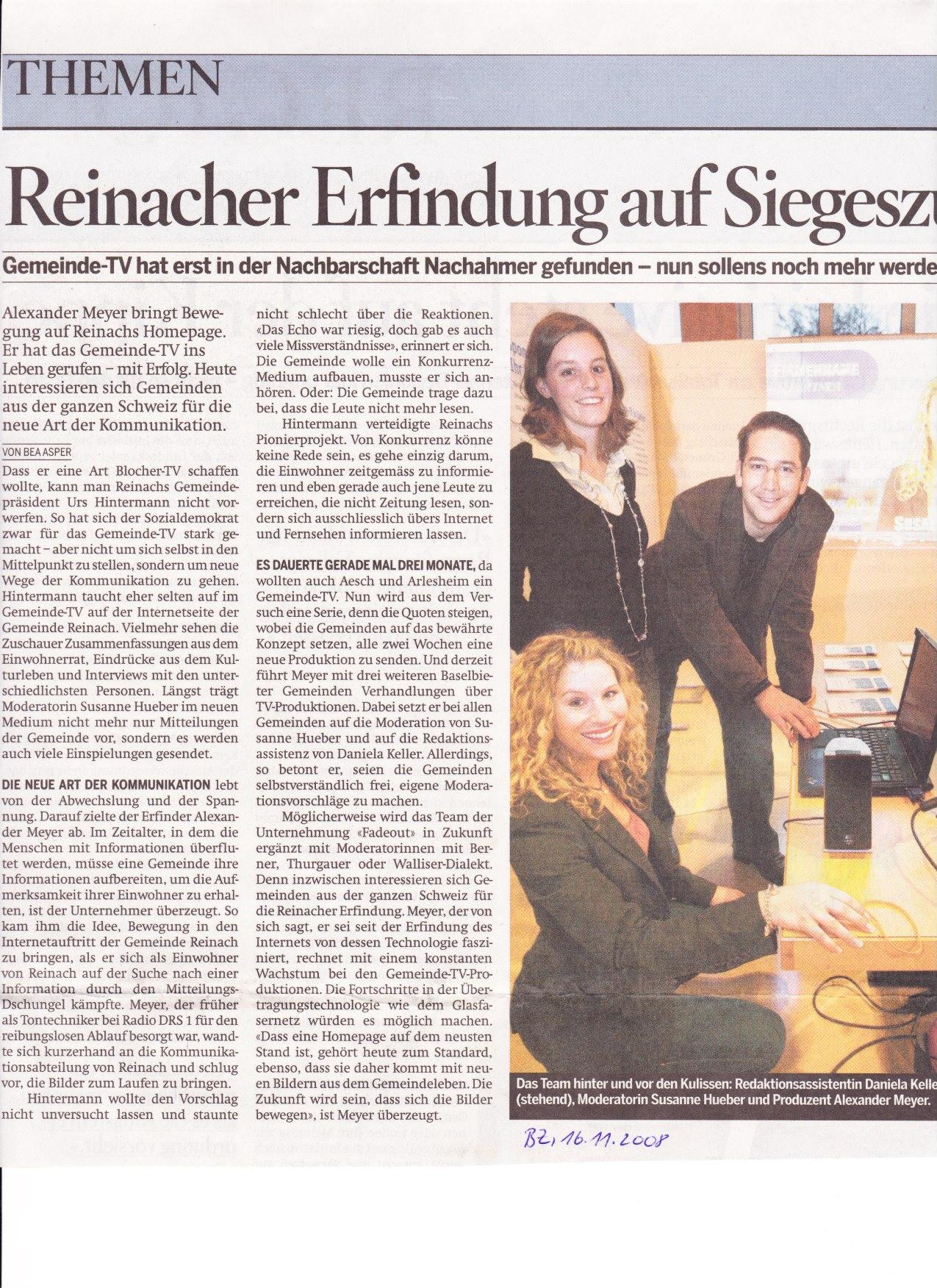Sonntags Zeitung, Gemeinde TV
