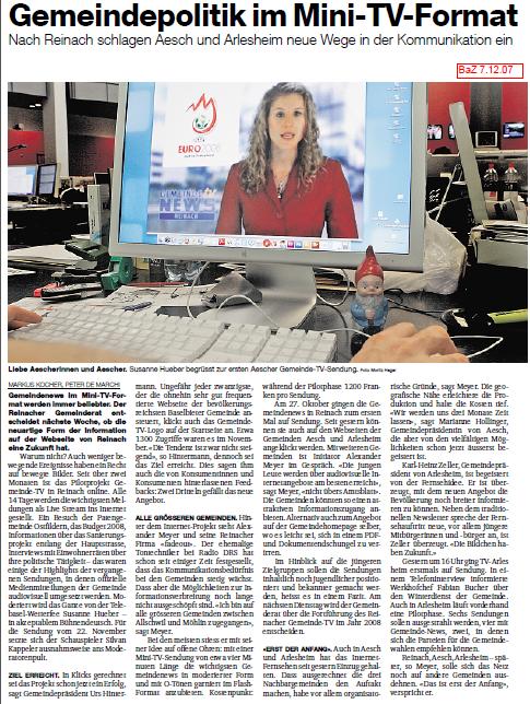 BaZ, Gemeinde News