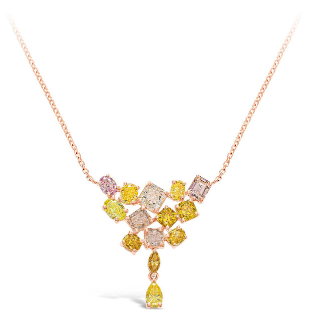 """RAINBOW"" FANCY COLOURED DIAMOND NECKLACE"