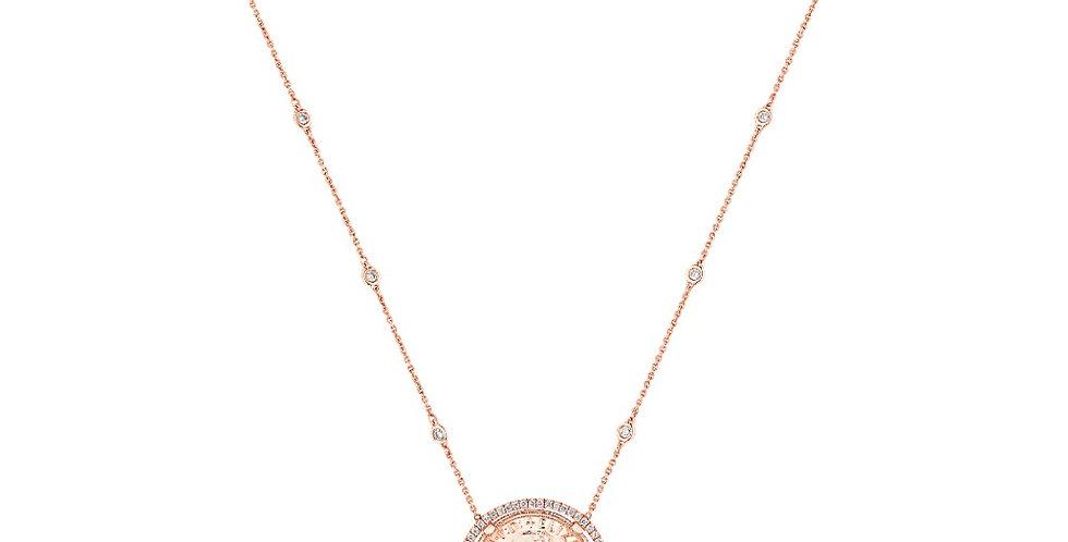 Diamond Halo Coin Pendant Necklace