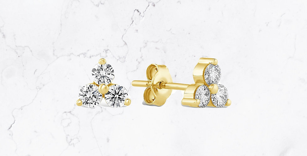 Triple Diamond Stud Jenna Earrings
