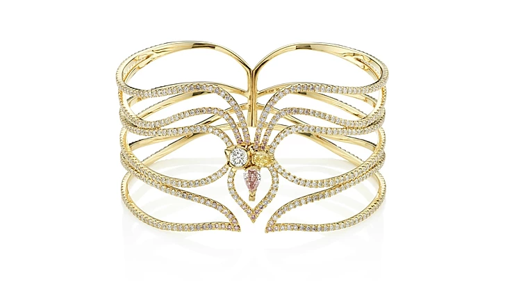 """Stellar"" Green, Pink and White Diamond Bracelet"