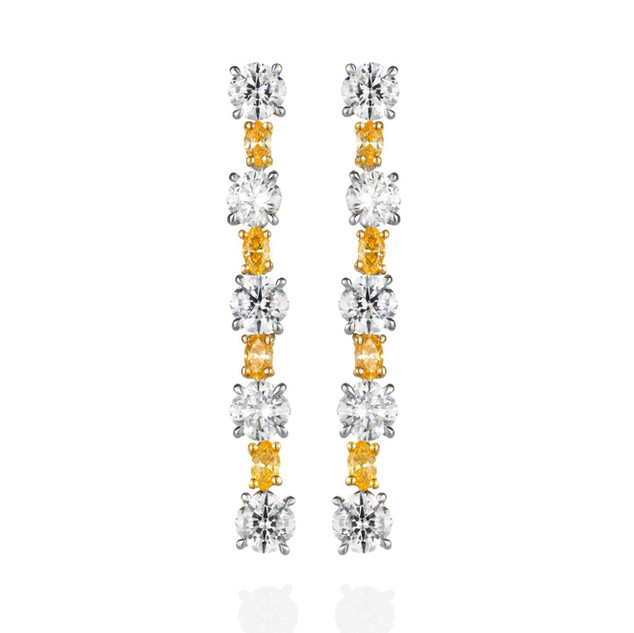 """TENNIS"" ORANGE AND WHITE DIAMOND LINE EARRINGS"