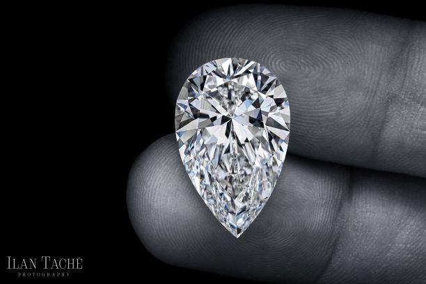 polished pear shaped diamond