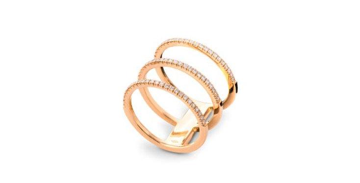Natalia Three-Band Pave Diamond Ring