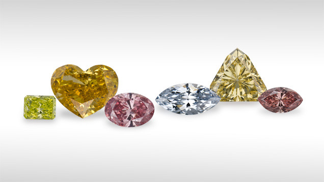 coloured polished diamonds