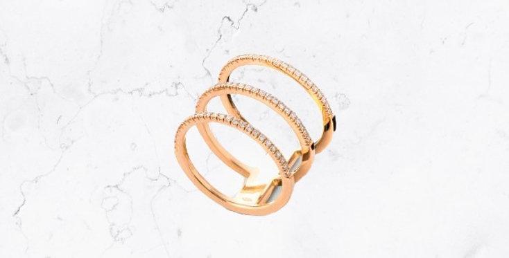 Three-Band Pave Diamond Natalia Ring