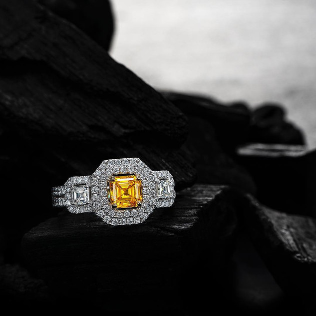 Zimmi asscher cut diamond ring