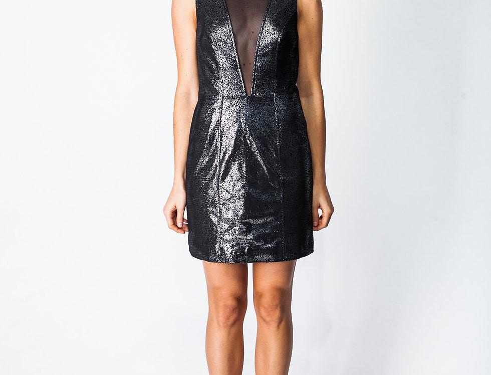 Leather Illusion V-neck  Dress