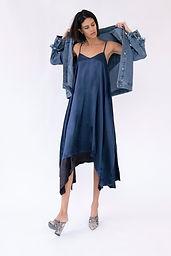 Adele Maxi Dress - Navy Two-tone