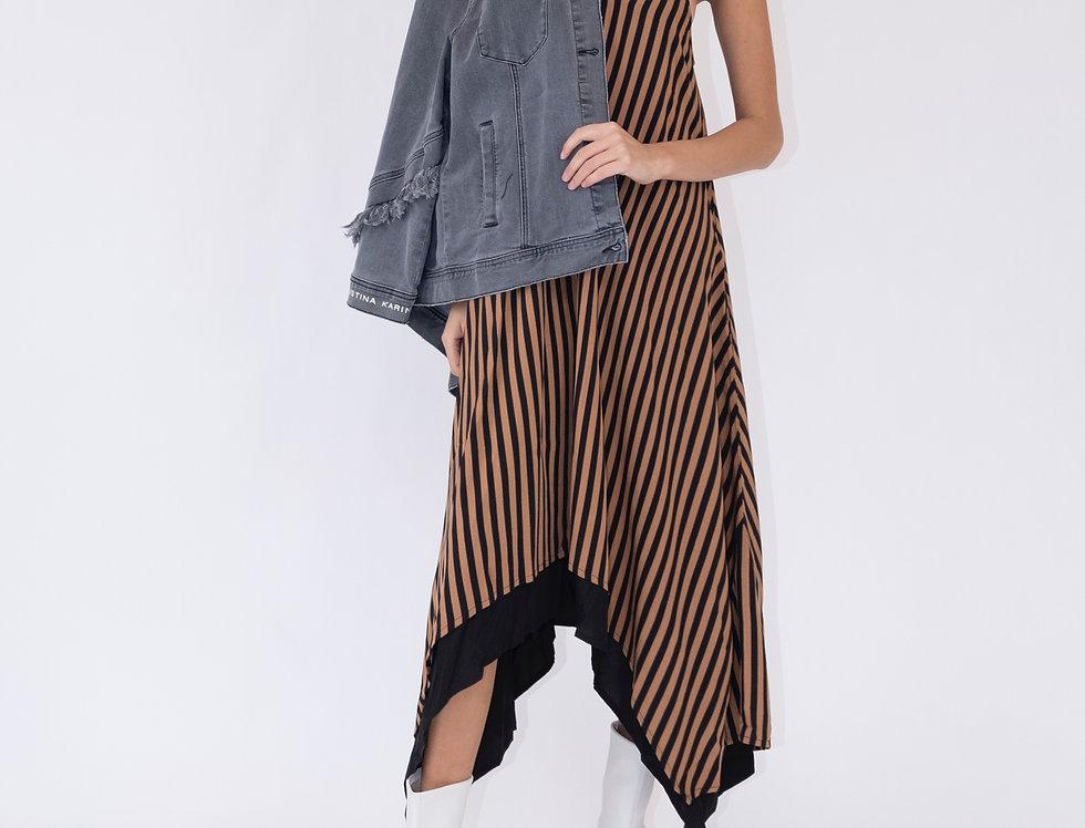 Adele Maxi -Camel/Black Stripe