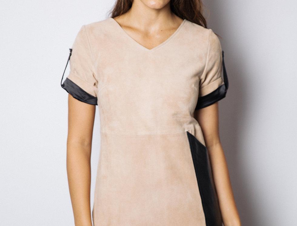 Sedona Suede & Leather Dress/Sand