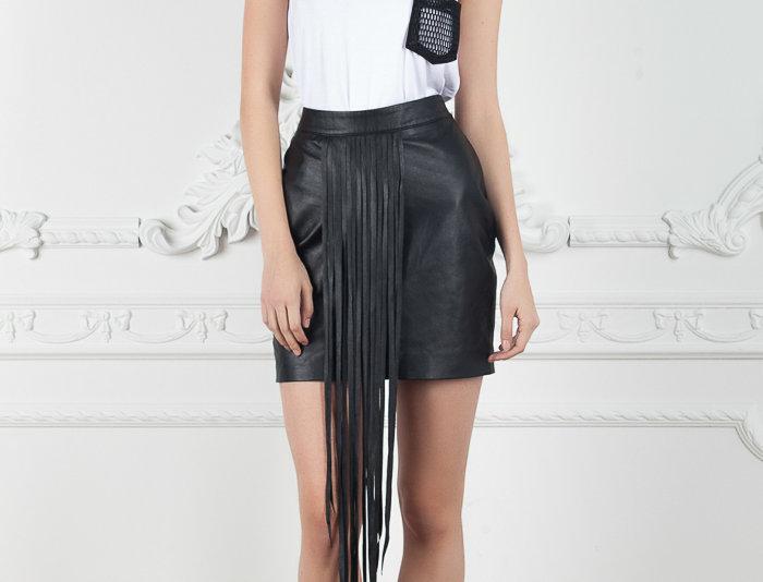 Veronica Fringe Leather Skirt