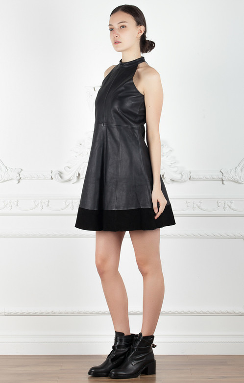 Lady Like Leather This A Line Dress With Bottom Hem Suede Panel And Mock Neck Is Flattering Favorite For Every Fashionable Woman
