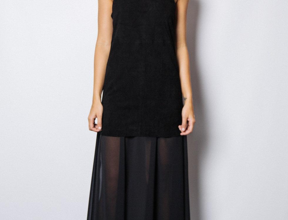 Marni Suede & Chiffon Maxi Dress