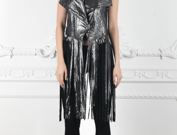 Metallic Fringe Leather Vest