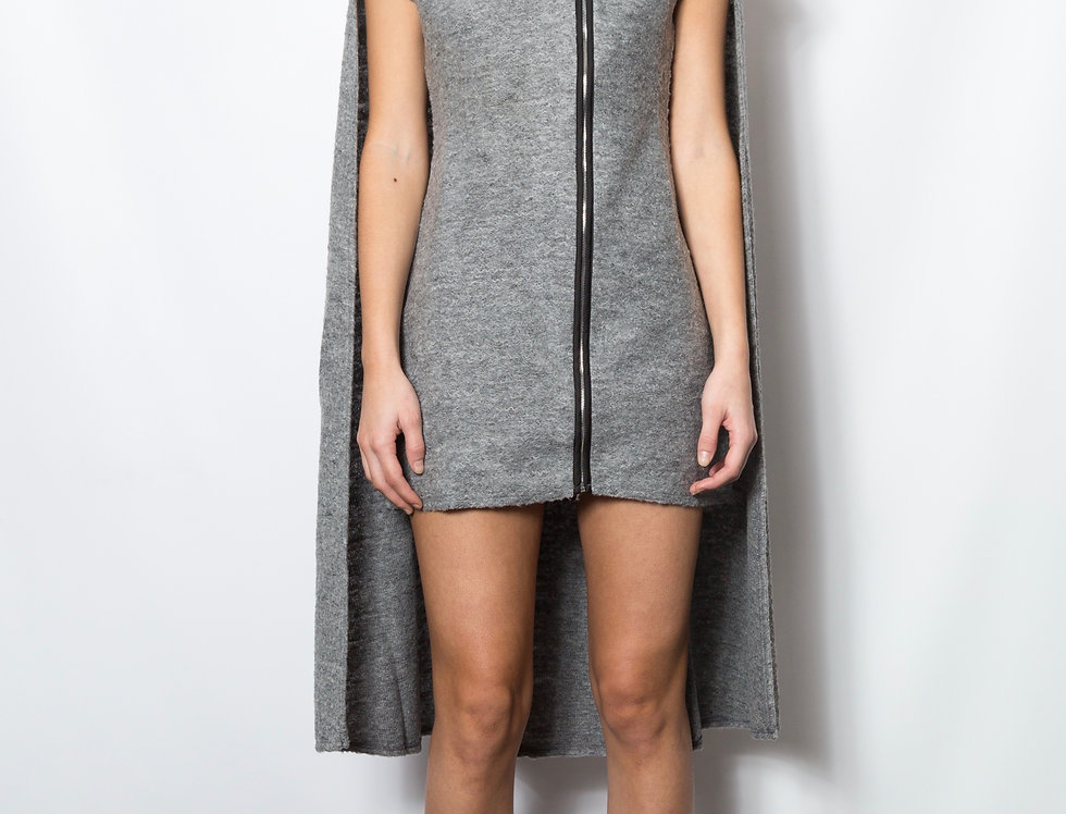 Boucle Cape Sweater Dress