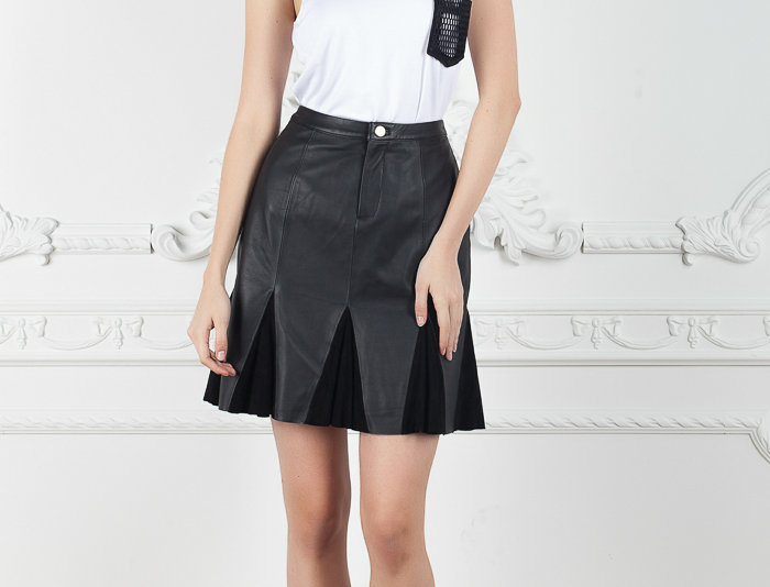 Gore Leather Skirt