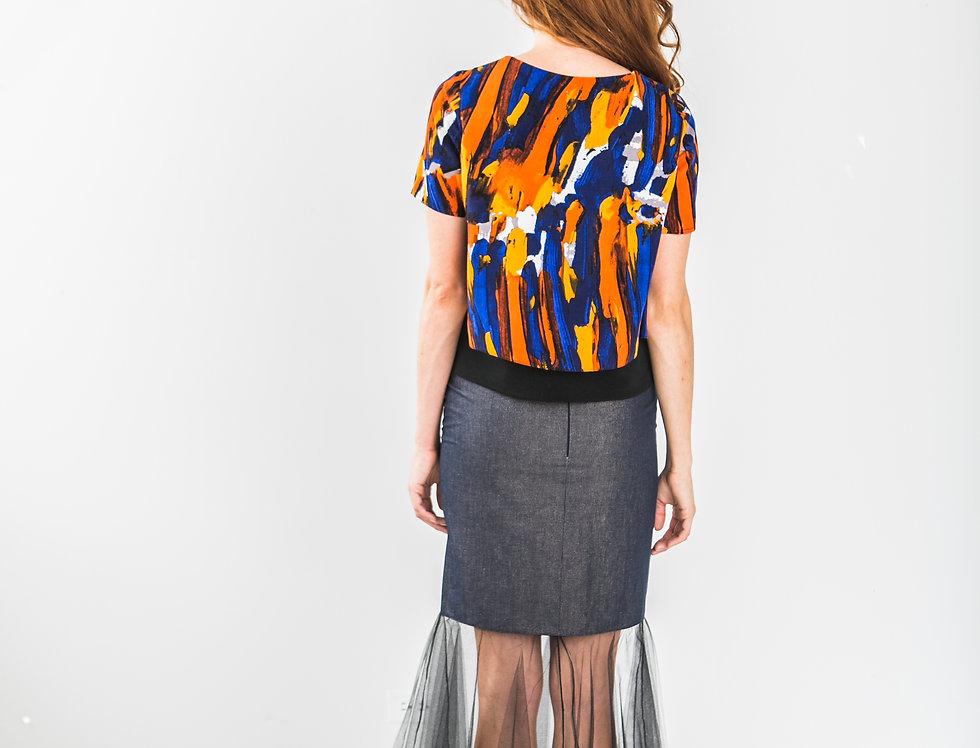 Denim & Tulle Maxi Skirt