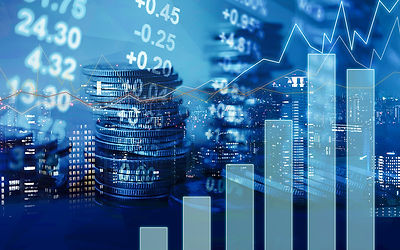 Stock Market Image with Numbers and Stacks of Coins