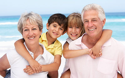Grandparents and grandkids at the Beach