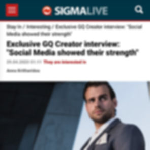 """SigmaLive - Patrick Van Negri - Exclusive GQ Creator interview: """"Social Media showed their strength"""
