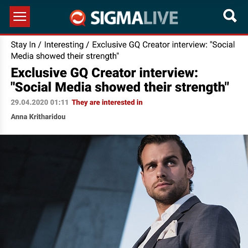 "SigmaLive - Patrick Van Negri - Exclusive GQ Creator interview: ""Social Media showed their strength"