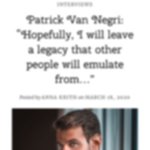 """Anna Krith's Lifestyle Patrick Van Negri: """"Hopefully, I will leave a legacy that other people will emulate from…"""""""