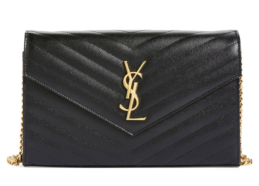 Large Monogram Quilted Leather Wallet on a Chain SAINT LAURENT