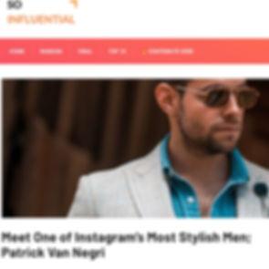 So Influential - Meet One of Instagram's Most Stylish Men; Patrick Van Negri