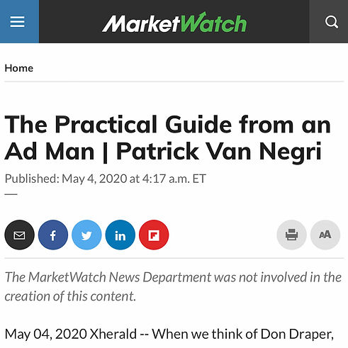 MarketWatch - The Practical Guide from an Ad Man | Patrick Van Negri