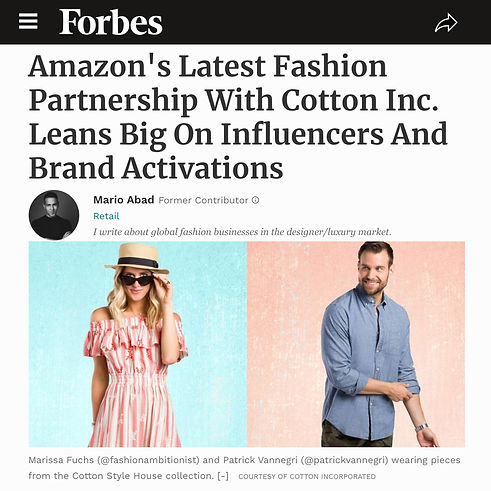 Forbes Patrick Van Negri Amazon's Latest Fashion Partnership With Cotton Inc. Leans Big On Influencers And Brand Activations