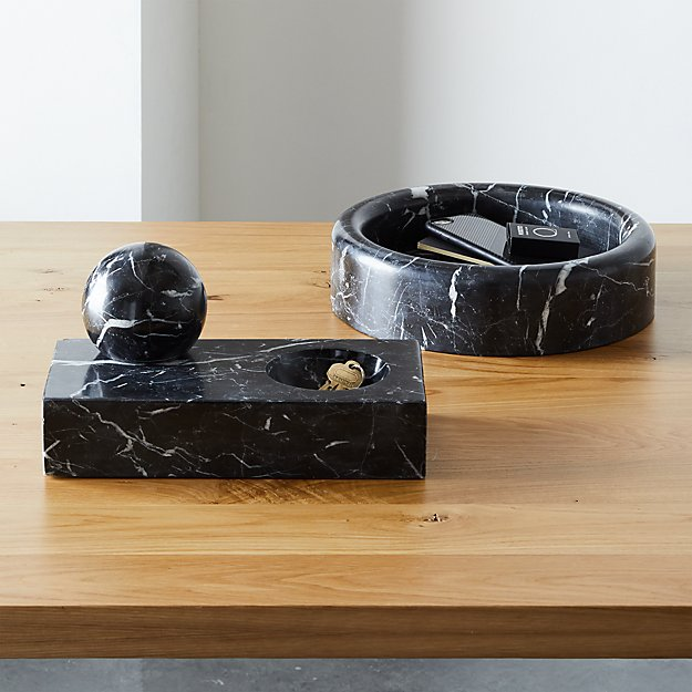 MARBLE PAPERWEIGHT AND CATCHALL