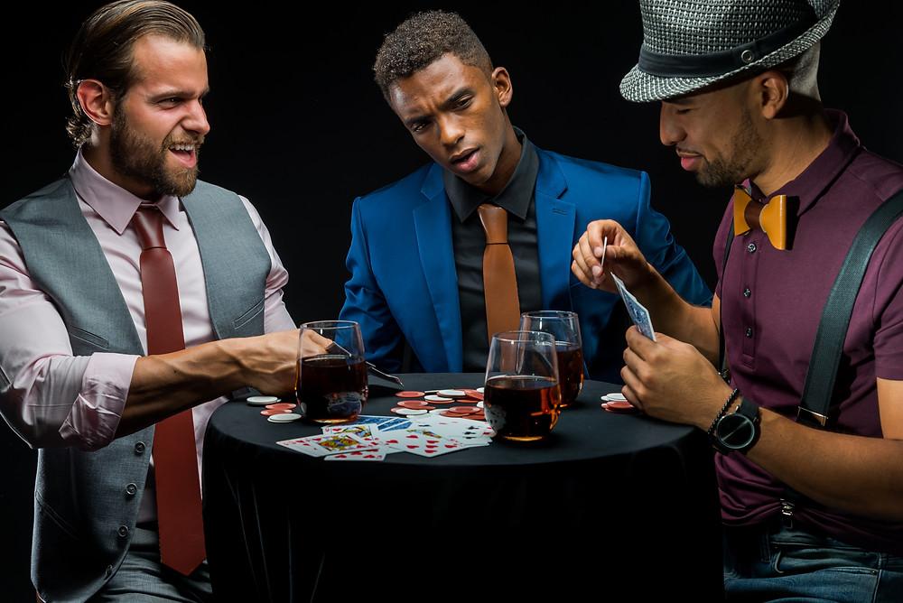 poker winning meswear leather tie