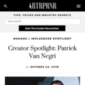ARTRPRNR Creator Spotlight: Patrick Van Negri