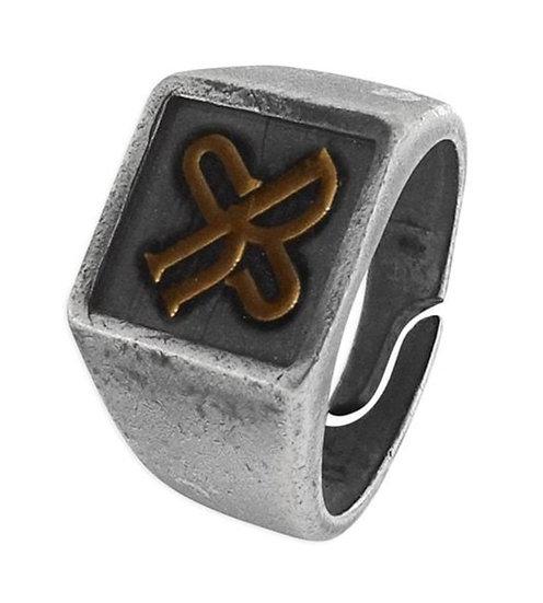 SKULL RIDER, SR logo Steel and Bronze Squared Ring