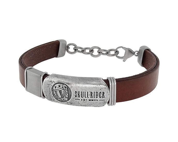 SKULL RIDER, Leather Bracelet with Skull Rider Logo