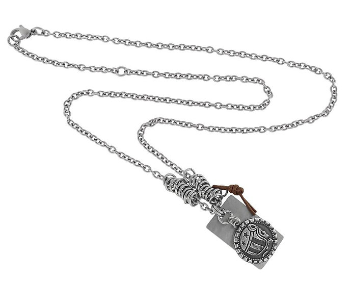 SKULL RIDER, Steel, Chain pendant with logo bead and steel plate