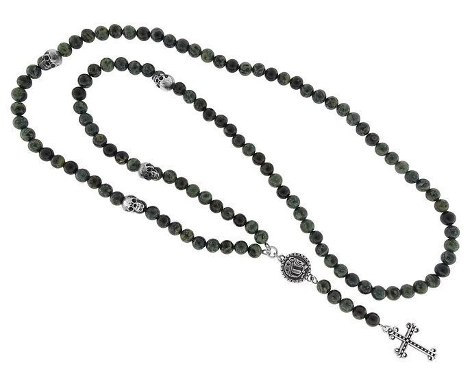cópia de SKULL RIDER, Rosary with Skulls, Logo and Cross