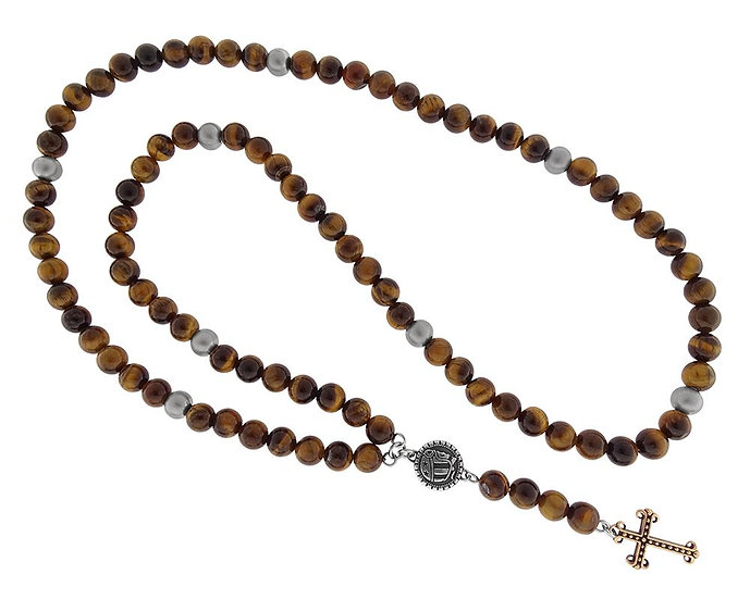 SKULL RIDER, Rosary with Tiger Eye with Skulls, Logo and Cross