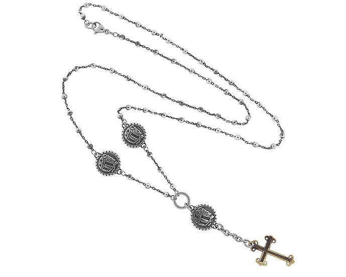 SKULL RIDER, Chain Rosary with Logo and Cross