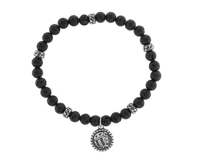 SKULL RIDER, Elastic Lava Spheres Bracelet with Logo